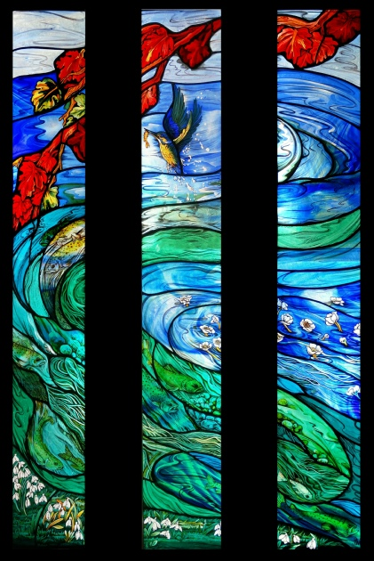 stained glass art glass painting of trout river and diving kingfisher at Cross Mill Winchester, Hampshire UK
