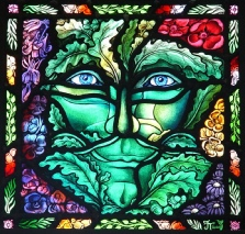 Green Man of the Forest stained glass window