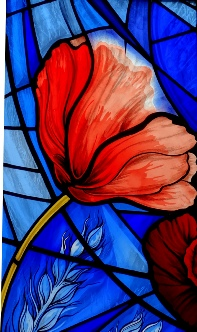 'Poppy' Remembrance WW1 memorial stained glass window St John's School Chapel