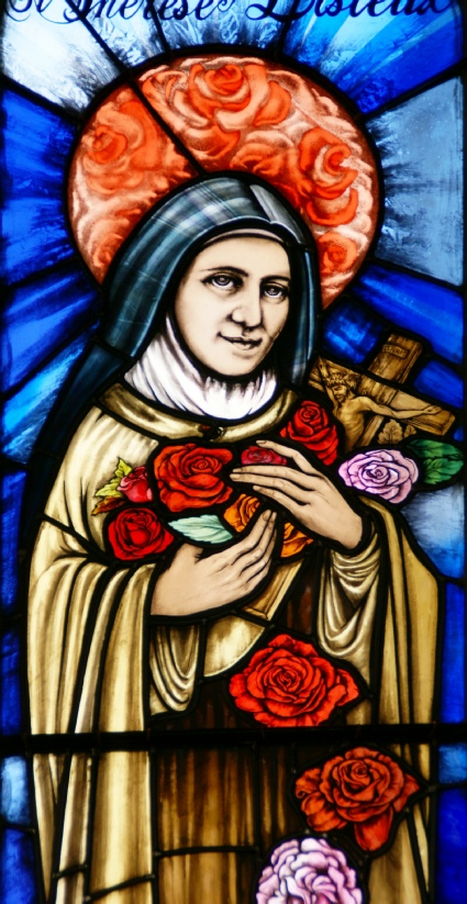 St Therese with roses