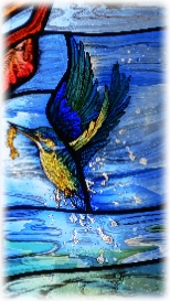 kingfisher by stained glass artist Jude tarrant