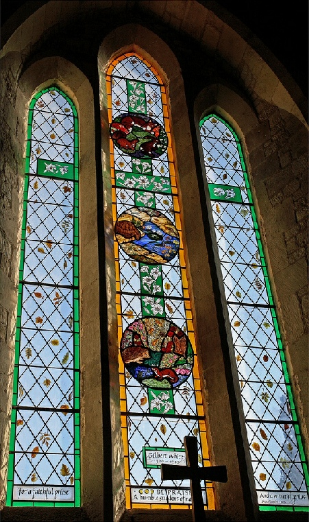 Naturalist Gilbert White window at St Marys Church Selborne Hampshire